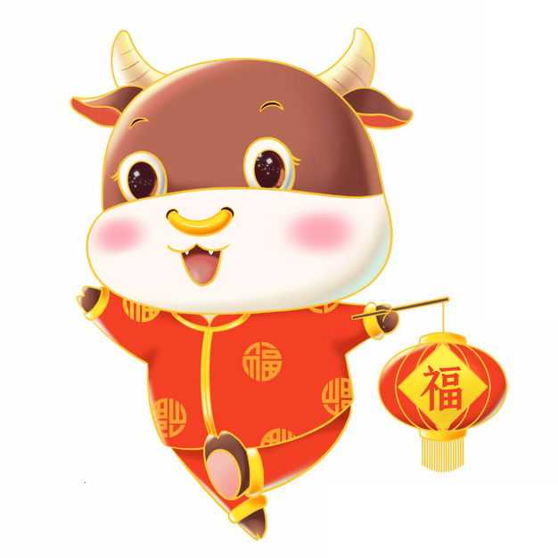 牛年新年春节可爱的卡通小牛身穿传统服饰打着福字灯笼8057281PSD图片免抠素材