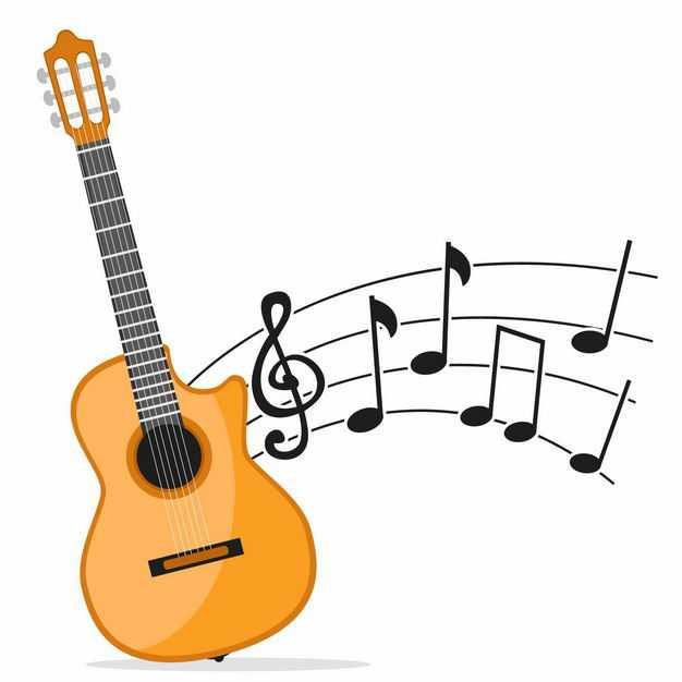 吉他弹出美妙的音乐弦乐器音符乐谱9465629EPS图片免抠素材
