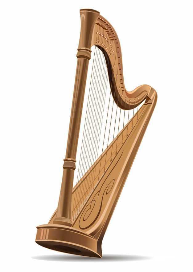 木制竖琴大型弹弦乐器音乐9558820EPS图片免抠素材