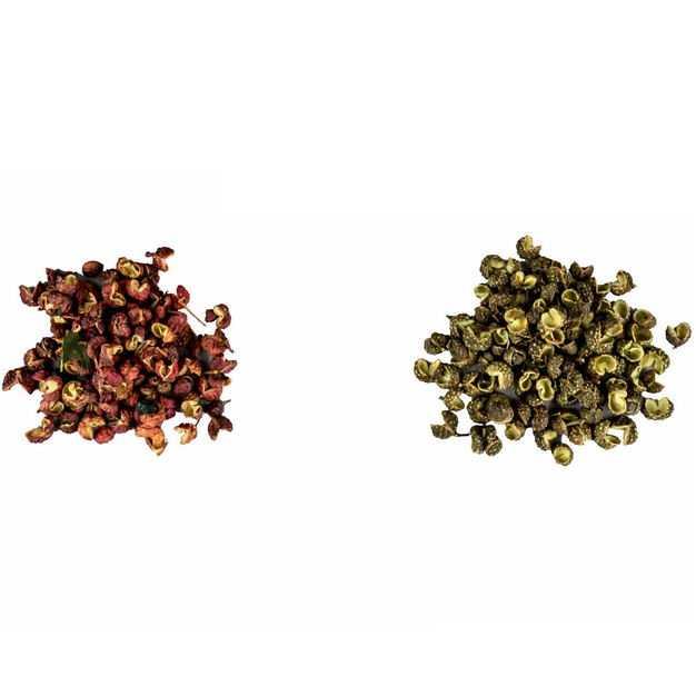 两堆普通花椒和青花椒调味品香料3126110png图片免抠素材
