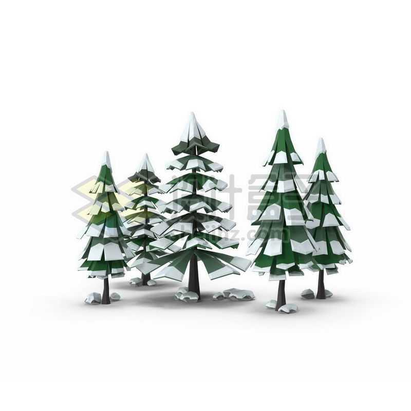 低多边形风格冬天积雪的雪松绿色大树2282086图片免抠素材