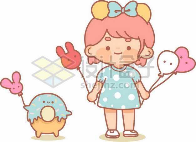 卡通女孩和卡通甜甜圈8726701png图片免抠素材