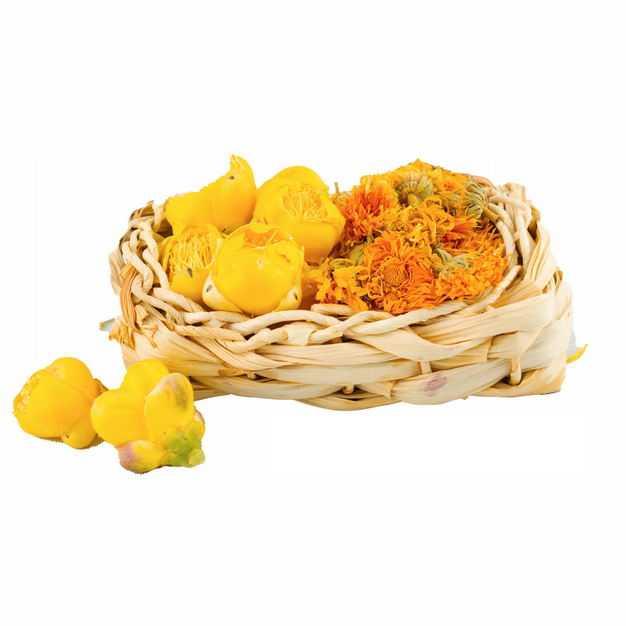 竹篮子中的黄玫瑰花茶金盏花金丝皇菊等养生花茶121818png图片免抠素材