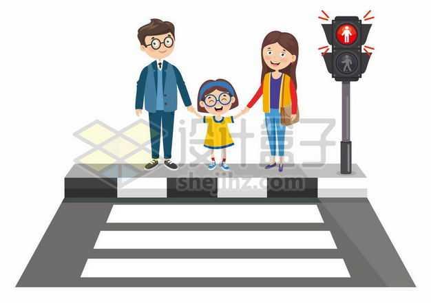 卡通小学生一家三口红绿灯斑马线过马路交通安全配图1336610png图片免抠素材