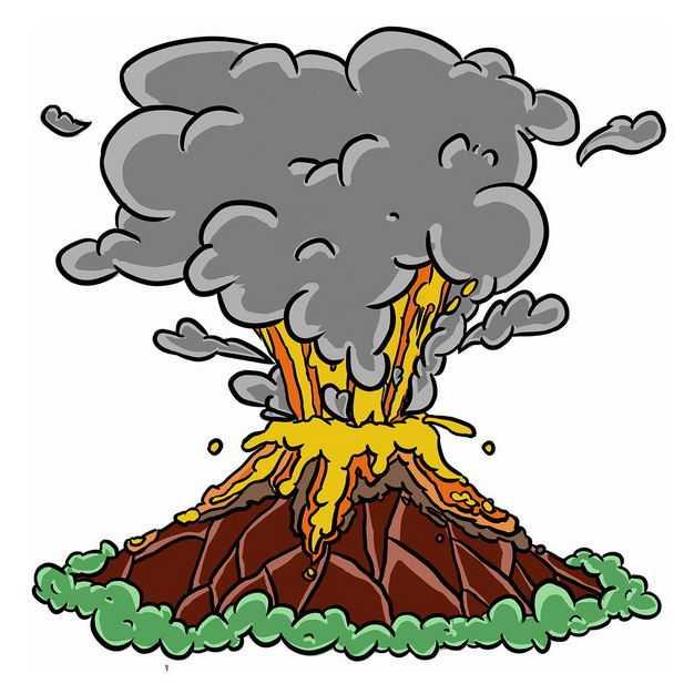 手绘风格卡通火山爆发6583784png图片免抠素材