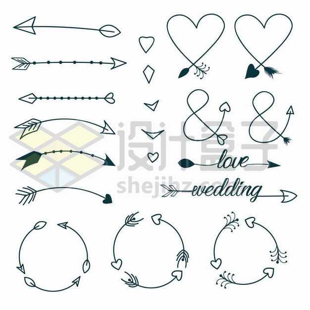 各种手绘涂鸦线条风格箭头和心形图案9491083png图片免抠素材