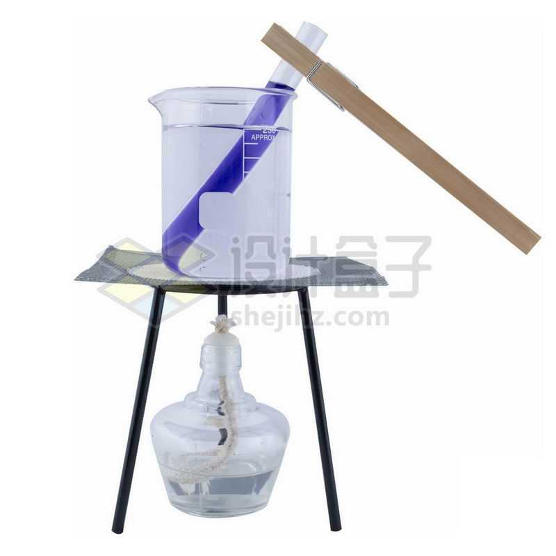 酒精灯三脚架和石棉网上的玻璃烧杯试管等化学实验仪器5434745png图片免抠素材