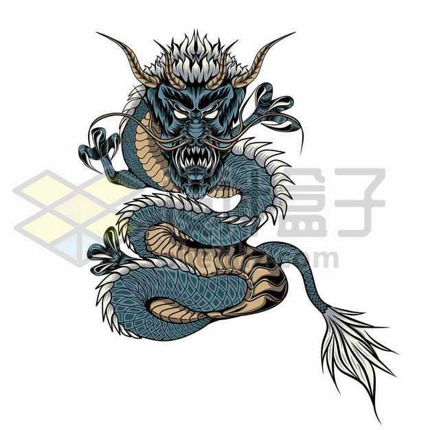 蓝色的中国风巨龙4164468png图片免抠素材