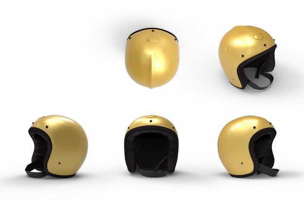 五款3D渲染的金色头盔摩托车头盔8009082png图片免抠素材