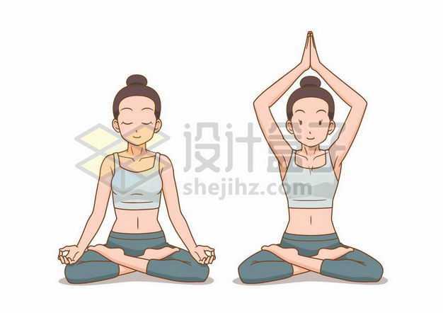两款正在做瑜伽动作打坐的卡通美女7382899png图片免抠素材