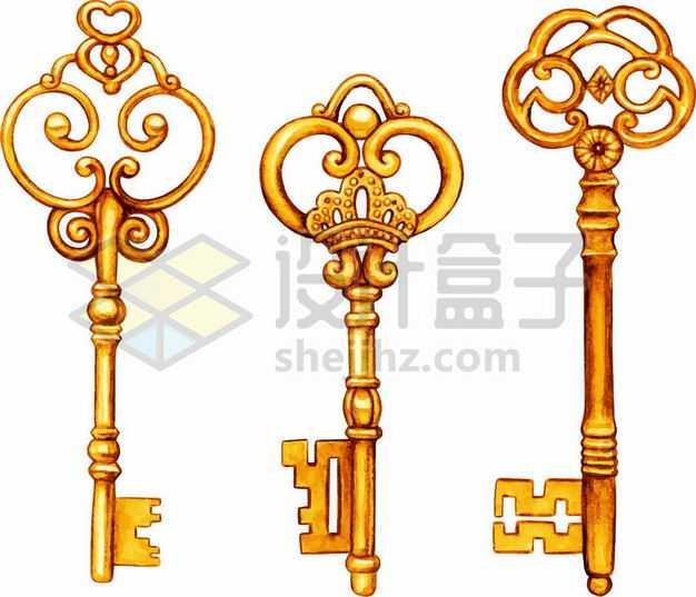 三款复古图案的金钥匙2189895png图片免抠素材