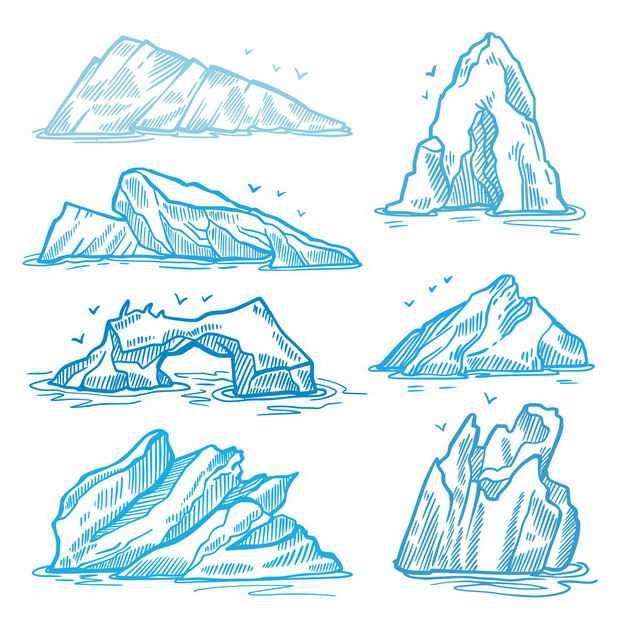 七款蓝色线条手绘风格南极北极冰山浮冰水面部分6656071EPS图片免抠素材