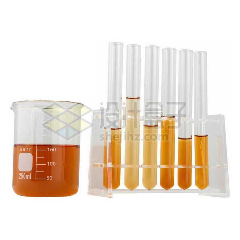 装有棕色液体的玻璃烧杯刻度杯和试管架上的玻璃试管等化学实验仪器4797120png图片免抠素材