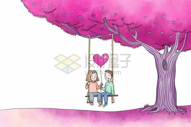 红色大树下荡秋千的情侣手绘插画2043619png图片免抠素材
