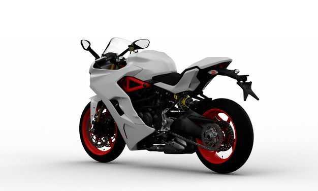 3D立体白色运动摩托车后左视角5331628png图片免抠素材