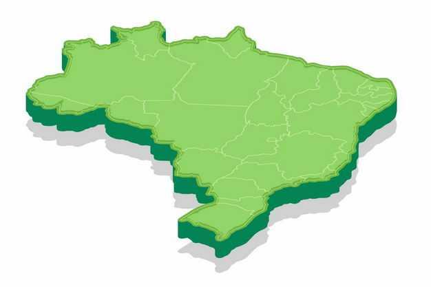 绿色3D立体巴西地图5234838png图片免抠素材
