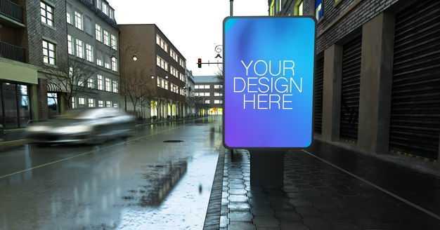 雨天街道边上的灯箱广告牌展示样机7928781PSD图片素材