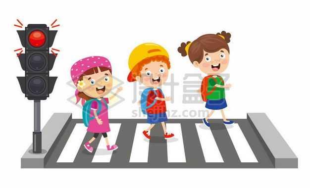卡通小学生红绿灯斑马线过马路交通安全配图2927246png图片免抠素材