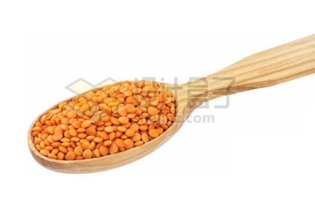 木头勺子里的橙色扁豆五谷杂粮粗粮美味美食3942775图片免抠素材