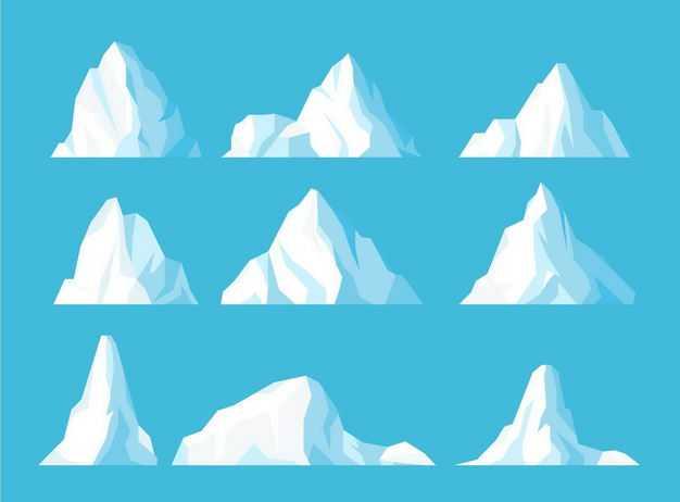 九款扁平化风格冰山插画5850413EPS图片免抠素材