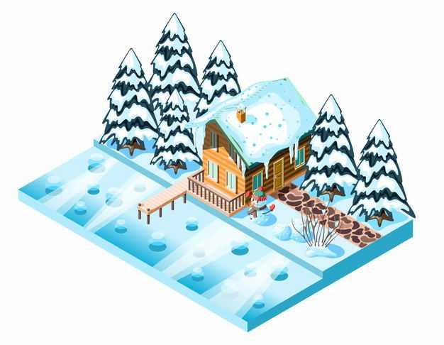 2.5D风格冬天河边的小屋雪屋和积雪覆盖的树林7938341EPS图片免抠素材