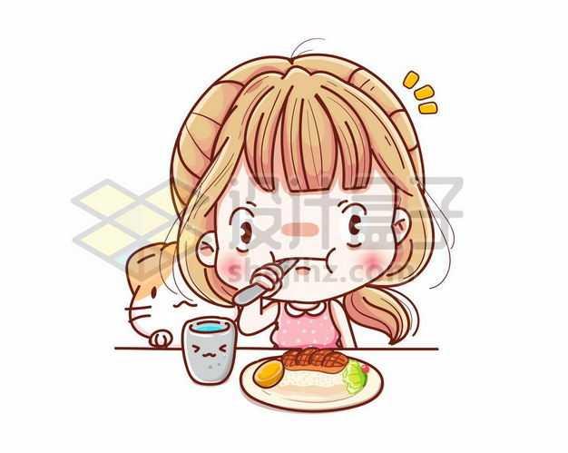 超可爱卡通女孩正在吃牛排小吃货1669525png图片免抠素材