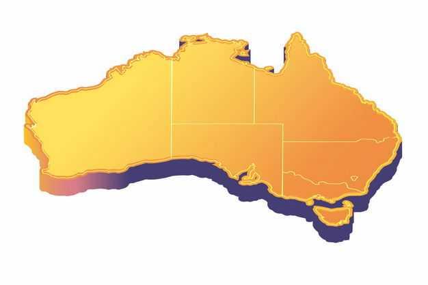橙色3D立体澳大利亚地图2627373png图片免抠素材
