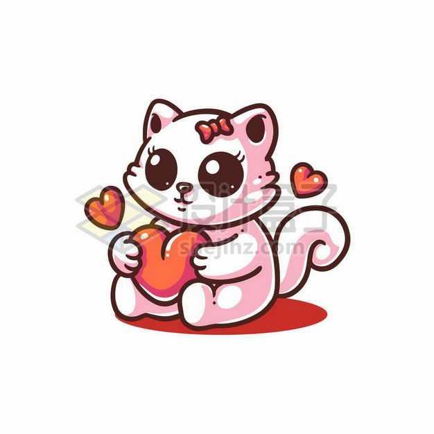 可爱的卡通猫咪抱着红心1744209png图片免抠素材