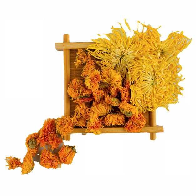 木头盘子中的金盏花金丝皇菊等养生菊花茶408606png图片免抠素材