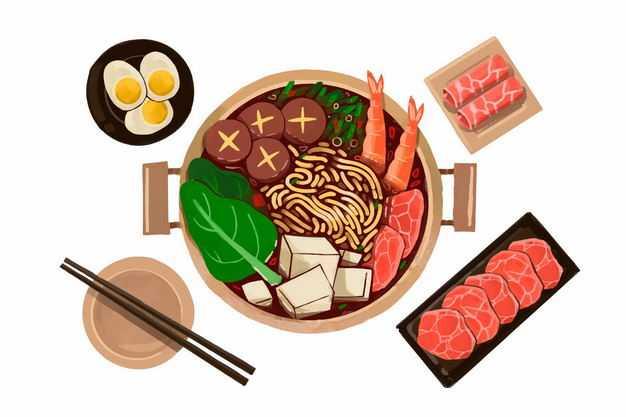 俯视视角牛肉火锅加了豆腐虾仁香菇青菜鸡蛋肥牛卷等美食3628768png图片免抠素材