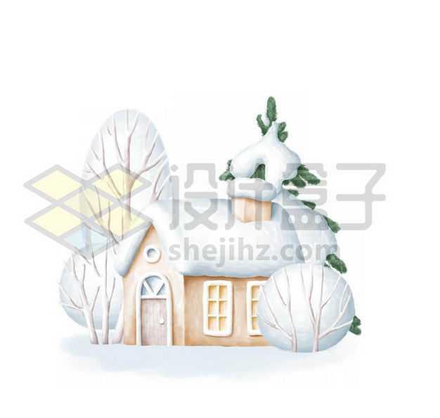3D卡通风格冬天大雪覆盖的小房子1852341PSD图片免抠素材