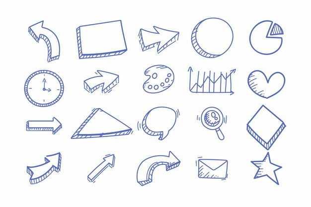 涂鸦风格方向箭头饼形图时钟邮件等手绘图案2212831png图片免抠素材
