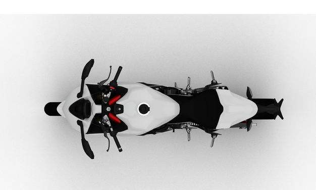 3D立体白色运动摩托车俯视视角2531519png图片免抠素材