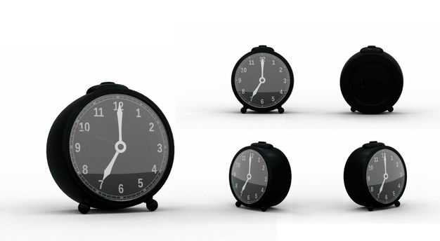 3D立体黑色闹钟时钟模型的五个不同角度5217078PSD图片素材