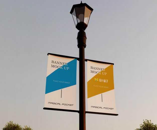 路灯广告牌道旗广告显示样机8791667PSD图片素材