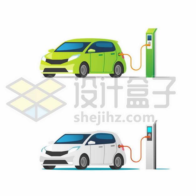 绿色和白色电动汽车正在使用充电桩充电9943334png图片免抠素材 交通运输-第1张