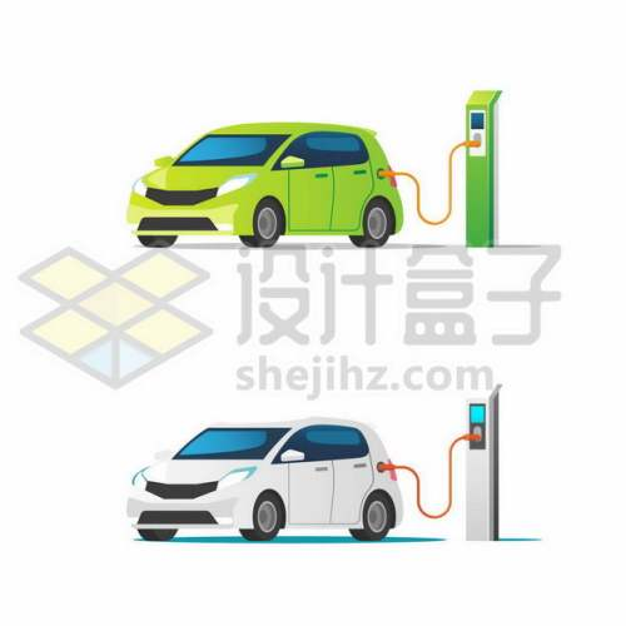 绿色和白色电动汽车正在使用充电桩充电9943334png图片免抠素材