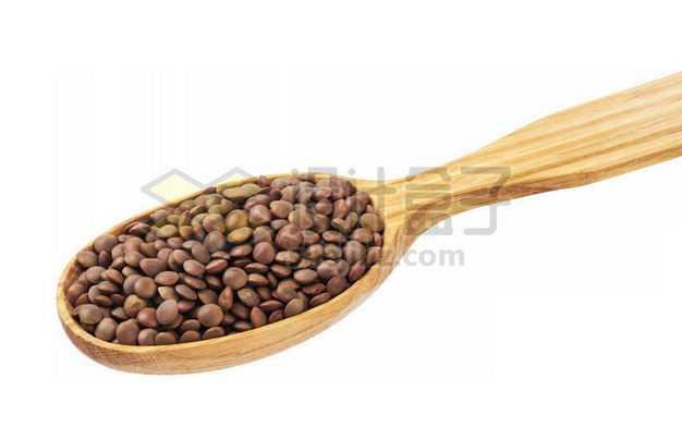 木头勺子里的布朗扁豆五谷杂粮粗粮美味美食7767322图片免抠素材