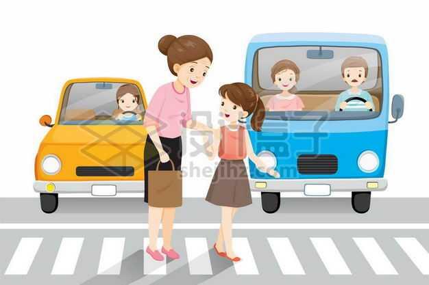 卡通小女孩扶着老奶奶走人行横道过马路宣传配图1854524png图片免抠素材