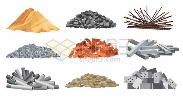 黄沙石子钢筋砖头水泥块钢管鹅卵石空心砖等建筑材料3446894png图片免抠素材 建筑装修-第1张