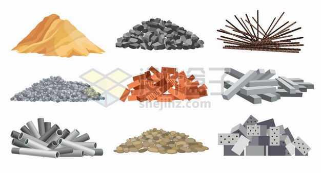 黄沙石子钢筋砖头水泥块钢管鹅卵石空心砖等建筑材料3446894png图片免抠素材
