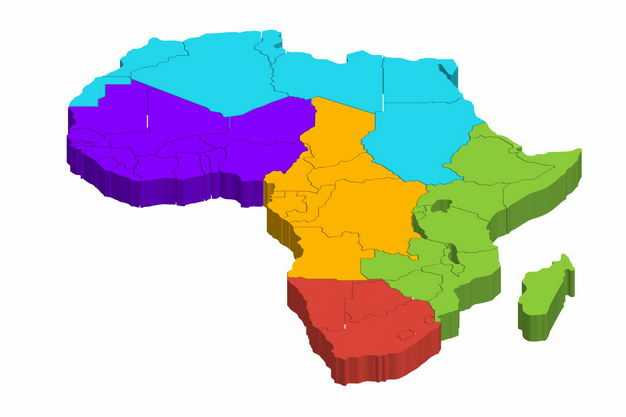 彩色3D立体非洲北非东非西非中非南非地图1410565png图片免抠素材