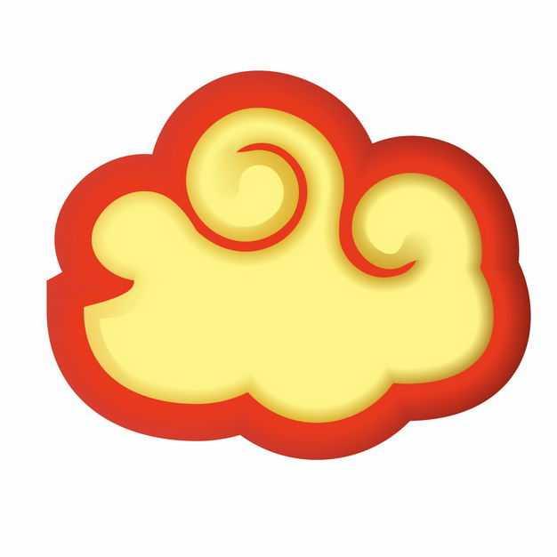 中国风卡通红边黄色祥云装饰图案3891422矢量图片免抠素材