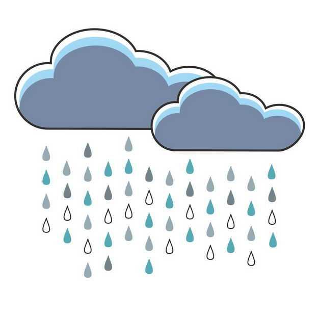 卡通乌云和下雨雨滴9078503png图片免抠素材