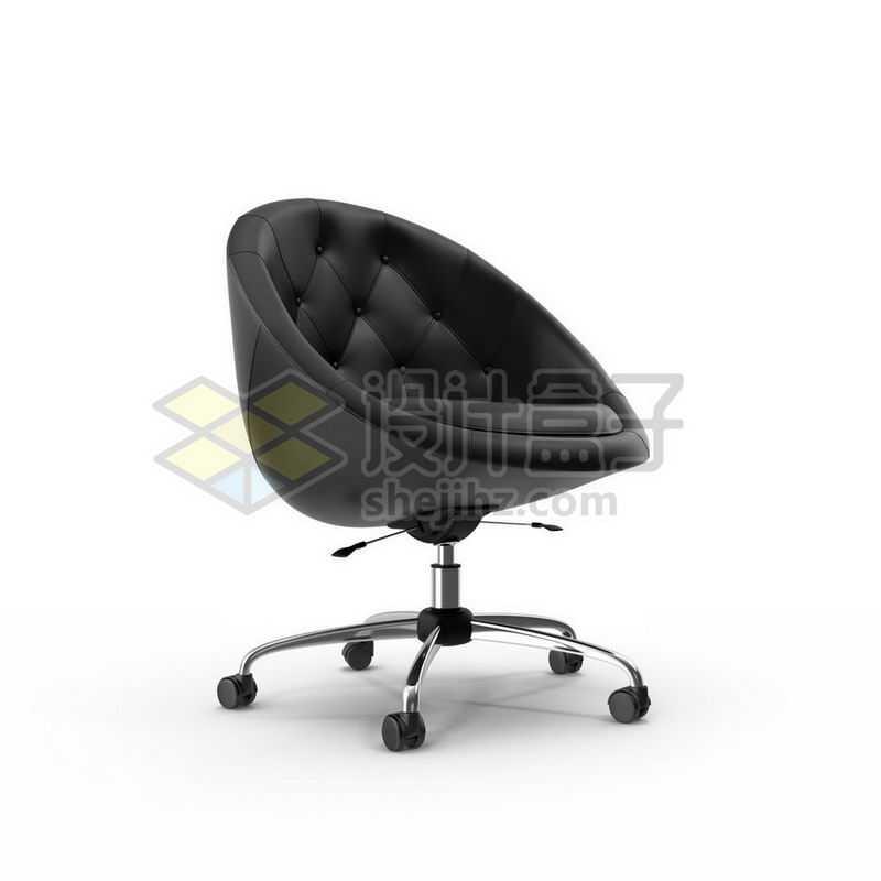 3D立体高清黑色皮质转椅家用电脑椅办公椅子7763811图片免抠素材
