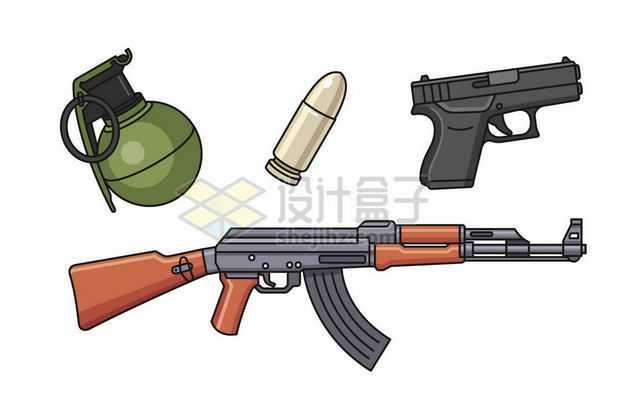 手榴弹子弹手枪AK47自动步枪等手绘插画3768751png图片免抠素材