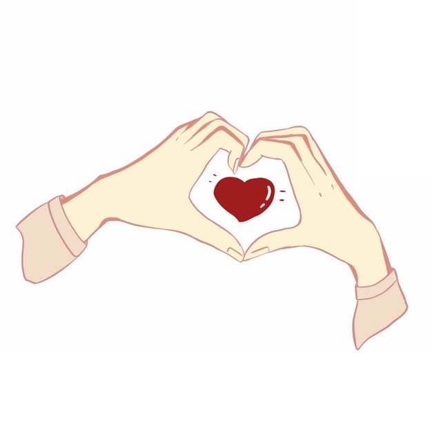 双手比心手势彩绘插画857069PSD图片免抠素材