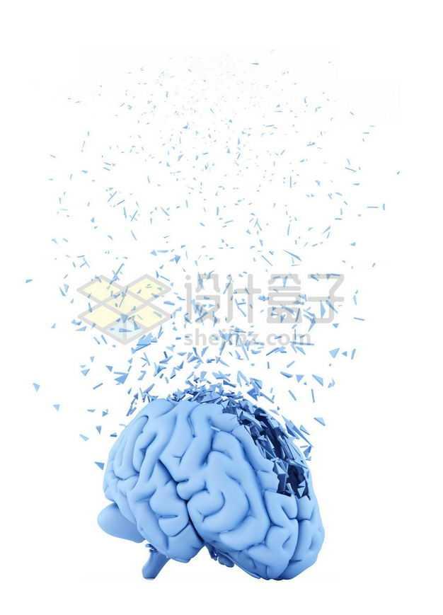 出现3D立体蓝色大脑和碎片8249544图片免抠素材