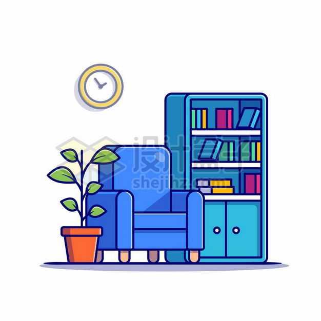 MBE风格书房中的蓝色沙发和书柜9273851png图片免抠素材