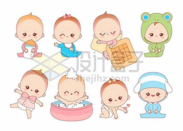 八款超可爱的卡通男宝宝女宝宝2774277png图片免抠素材